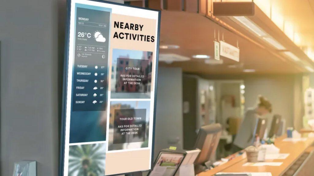 Nội dung thời tiết được phát trực tiếp từ website nhờ giải pháp quản lý màn hình tập trung
